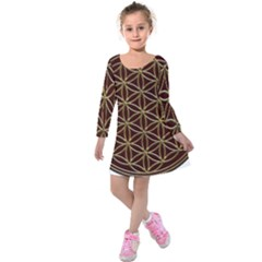 Flower Of Life Kids  Long Sleeve Velvet Dress