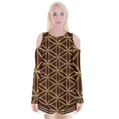 Flower Of Life Velvet Long Sleeve Shoulder Cutout Dress