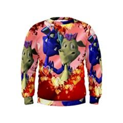 Ove Hearts Cute Valentine Dragon Kids  Sweatshirt