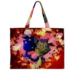 Ove Hearts Cute Valentine Dragon Zipper Mini Tote Bag