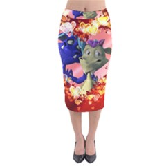 Ove Hearts Cute Valentine Dragon Velvet Midi Pencil Skirt