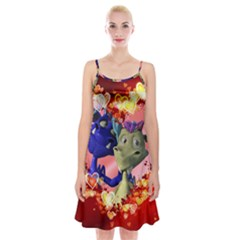Ove Hearts Cute Valentine Dragon Spaghetti Strap Velvet Dress