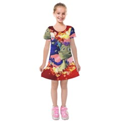 Ove Hearts Cute Valentine Dragon Kids  Short Sleeve Velvet Dress