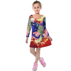 Ove Hearts Cute Valentine Dragon Kids  Long Sleeve Velvet Dress