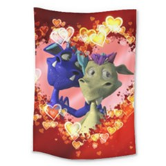Ove Hearts Cute Valentine Dragon Large Tapestry