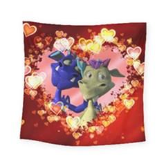 Ove Hearts Cute Valentine Dragon Square Tapestry (Small)