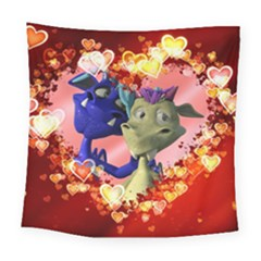 Ove Hearts Cute Valentine Dragon Square Tapestry (large)