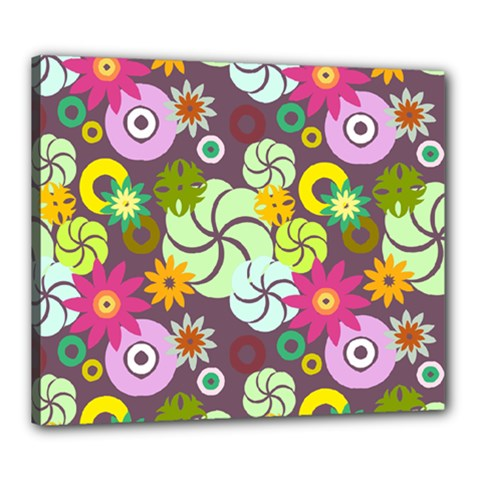 Floral Seamless Rose Sunflower Circle Red Pink Purple Yellow Canvas 24  x 20