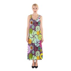Floral Seamless Rose Sunflower Circle Red Pink Purple Yellow Sleeveless Maxi Dress