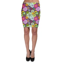 Floral Seamless Rose Sunflower Circle Red Pink Purple Yellow Bodycon Skirt