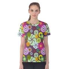 Floral Seamless Rose Sunflower Circle Red Pink Purple Yellow Women s Cotton Tee