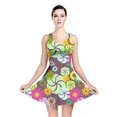Floral Seamless Rose Sunflower Circle Red Pink Purple Yellow Reversible Skater Dress