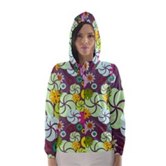 Floral Seamless Rose Sunflower Circle Red Pink Purple Yellow Hooded Wind Breaker (Women)
