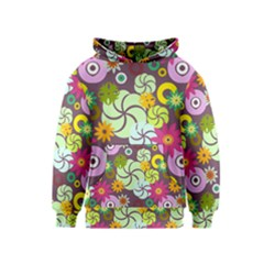 Floral Seamless Rose Sunflower Circle Red Pink Purple Yellow Kids  Pullover Hoodie