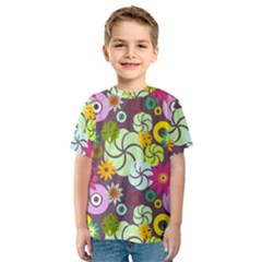 Floral Seamless Rose Sunflower Circle Red Pink Purple Yellow Kids  Sport Mesh Tee