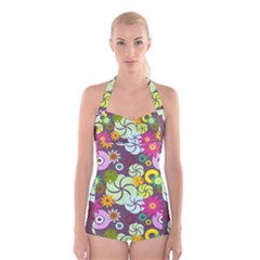 Floral Seamless Rose Sunflower Circle Red Pink Purple Yellow Boyleg Halter Swimsuit