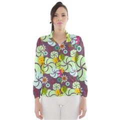 Floral Seamless Rose Sunflower Circle Red Pink Purple Yellow Wind Breaker (Women)