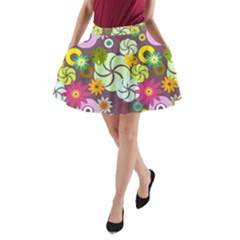 Floral Seamless Rose Sunflower Circle Red Pink Purple Yellow A-Line Pocket Skirt