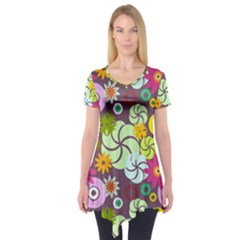 Floral Seamless Rose Sunflower Circle Red Pink Purple Yellow Short Sleeve Tunic
