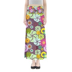 Floral Seamless Rose Sunflower Circle Red Pink Purple Yellow Maxi Skirts
