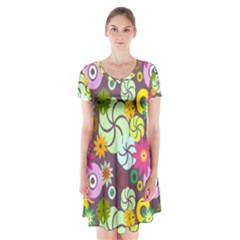 Floral Seamless Rose Sunflower Circle Red Pink Purple Yellow Short Sleeve V-neck Flare Dress