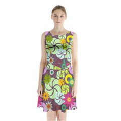 Floral Seamless Rose Sunflower Circle Red Pink Purple Yellow Sleeveless Chiffon Waist Tie Dress