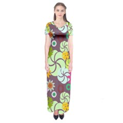 Floral Seamless Rose Sunflower Circle Red Pink Purple Yellow Short Sleeve Maxi Dress