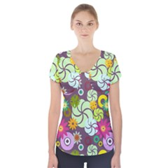 Floral Seamless Rose Sunflower Circle Red Pink Purple Yellow Short Sleeve Front Detail Top
