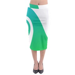 Line Green Wave Midi Pencil Skirt