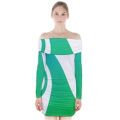 Line Green Wave Long Sleeve Off Shoulder Dress