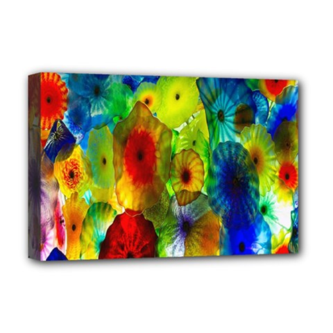 Green Jellyfish Yellow Pink Red Blue Rainbow Sea Deluxe Canvas 18  x 12