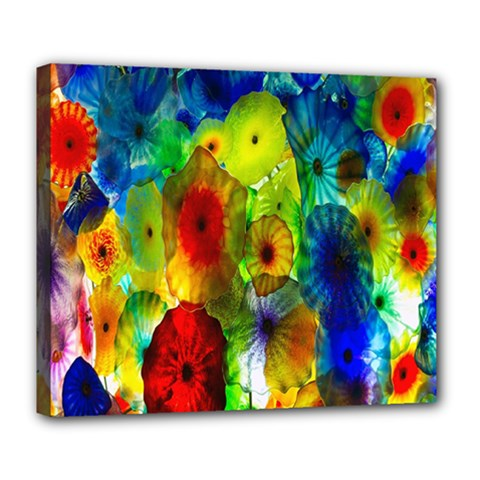 Green Jellyfish Yellow Pink Red Blue Rainbow Sea Deluxe Canvas 24  x 20