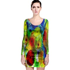 Green Jellyfish Yellow Pink Red Blue Rainbow Sea Long Sleeve Bodycon Dress