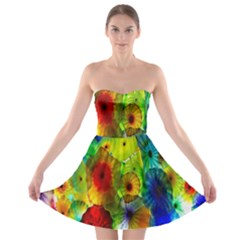 Green Jellyfish Yellow Pink Red Blue Rainbow Sea Strapless Bra Top Dress