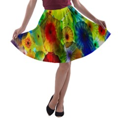 Green Jellyfish Yellow Pink Red Blue Rainbow Sea A-line Skater Skirt