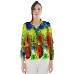 Green Jellyfish Yellow Pink Red Blue Rainbow Sea Wind Breaker (Women)