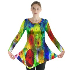 Green Jellyfish Yellow Pink Red Blue Rainbow Sea Long Sleeve Tunic