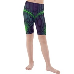 Light Cells Colorful Space Greeen Kids  Mid Length Swim Shorts