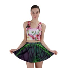 Light Cells Colorful Space Greeen Mini Skirt