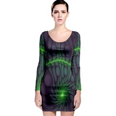 Light Cells Colorful Space Greeen Long Sleeve Bodycon Dress