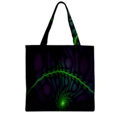 Light Cells Colorful Space Greeen Zipper Grocery Tote Bag