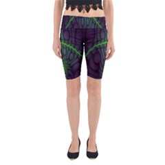 Light Cells Colorful Space Greeen Yoga Cropped Leggings