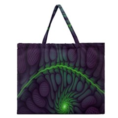 Light Cells Colorful Space Greeen Zipper Large Tote Bag