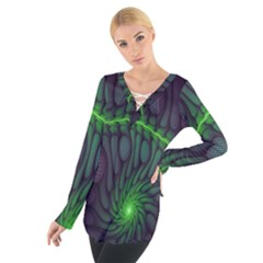 Light Cells Colorful Space Greeen Women s Tie Up Tee