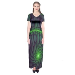 Light Cells Colorful Space Greeen Short Sleeve Maxi Dress