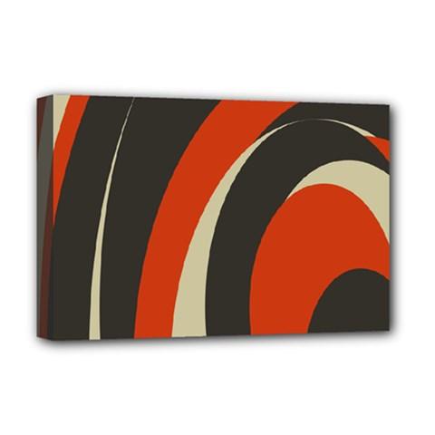 Mixing Gray Orange Circles Deluxe Canvas 18  x 12