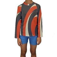 Mixing Gray Orange Circles Kids  Long Sleeve Swimwear