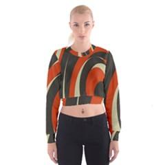 Mixing Gray Orange Circles Women s Cropped Sweatshirt