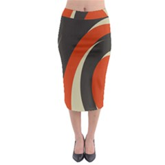 Mixing Gray Orange Circles Midi Pencil Skirt