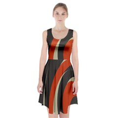 Mixing Gray Orange Circles Racerback Midi Dress